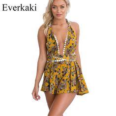 Everkaki 2017 Bohemian Sexy Playsuits floral Print Sleeveless Backless Spaghetti Strap V Neck Summer beach romper jumpsuit