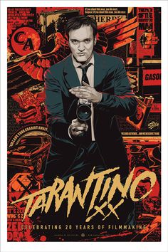 "Poster based on the artwork Ken Taylor did for the Quentin Tarantino box set, Tarantino XX. Released by Mondo at $100 a pop in a 24x36"" edition of 325. I like it, but you could just get the box set. Plus I already have a couple of Tarantino prints hanging in my office."