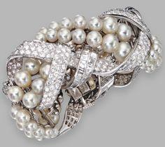 Platinum, Cultured Pearl and Diamond Bangle-Bracelet, David Webb Lot Sotheby's Conch Jewelry, Enamel Jewelry, Sea Glass Jewelry, Pearl Jewelry, Fine Jewelry, Vintage Jewelry, Jewlery, David Webb, Diamond Bangle