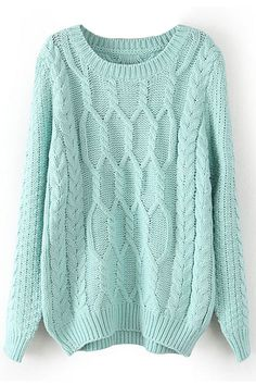 Love the color #mint #sweaterweather I love bulky cable knit sweaters to pair with infinity scarves and Uggs. Romwe.