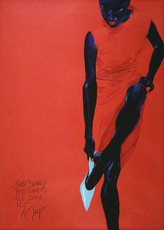 Fashion illustration by Wolfgang Joop, Feb. 2000, Black Beauty.