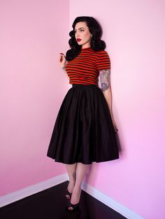 Bad Girl Crop Top in Orange and Black Stripes - Vixen by Micheline Pitt - PRE-ORDER – Bad Girl Crop Top in Orange and Black Stripes – Vixen by Micheline Pitt Source by - Looks Rockabilly, Mode Rockabilly, Rockabilly Outfits, Rockabilly Fashion, 50s Outfits, Pin Up Outfits, Vintage Outfits, Vintage Fashion, Fashion Outfits