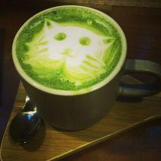 cups green tea latte