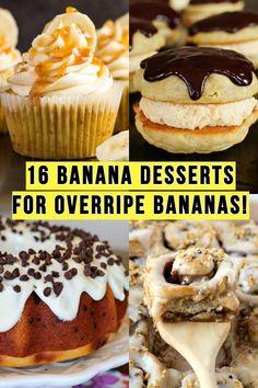 16 Banana Desserts Using Overripe Bananas! Recipe Using Overripe Bananas, Recipes Using Bananas, Overripe Banana Recipes, Banana Brownies, Banana Cheesecake, Banana Pudding Cake, Banana Pudding Recipes, Recipes Using Marshmallows, Bhg Recipes