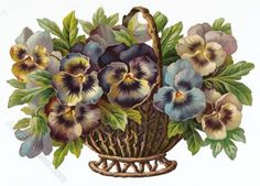 LGE Antique EmbosChromoVictorian Scrap, Lovely Basket of Pansies. Vintage Ephemera, Vintage Postcards, Vintage Images, Decoupage, Sweet Violets, Pansies, Vintage Advertisements, Clipart, Purple Flowers