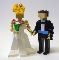 Lego My Woman! Every bride dreams of her big day since childhood, but very few bring toys to their wedding. If you're a bride with childhood whimsy, these Lego bride and groom cake toppers are the perfect accessory for building a wonderful life. Geek Wedding, Wedding Groom, Wedding Cake Toppers, Chic Wedding, Quirky Wedding, Handmade Wedding, Bride Groom, Perfect Wedding, Wedding Blog