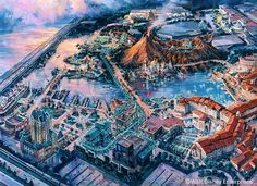 Tokyo DisneySea, Tokyo Disney Resort - Dan Goozeé. Features minor differences from other overview art.