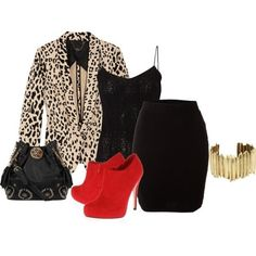 Animal prints, black & white & a pop of colour. Always a chic look!