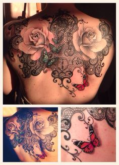 #lace #butterfly #backtattoo #rose
