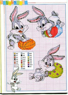 Cartoon Cross Stitch Patterns   Gallery Cross stitch patterns Children Cartoons A tender Bugs Bunny ...