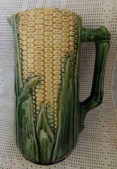 RP: Vintage Majolica Corn Pitcher - Etsy.com