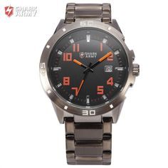Shark Army Men Military Black Orange Dial Auto Date Display 3ATM Waterproof Montre Homme Outdoor Climbing Sports Watches /SAW072