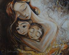 mother two children sisters brothers gold brown - Linger - Archival and signed 13x19 art print