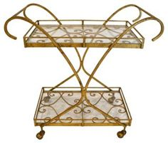 Gold Scroll Metal  Bar Cart