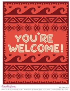 Free Moana Printables Welcome sign | CatchMyParty.com