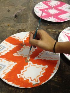 hand painted ikat plates