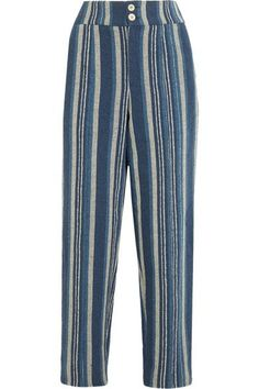Chloé - Striped Cotton-blend Straight-leg Pants - Blue - FR40