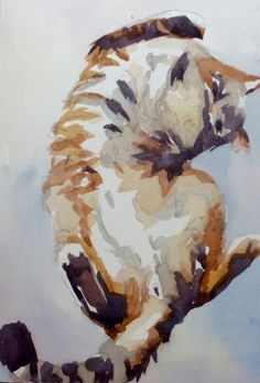 A Question Mark Cat, painting by artist Jo MacKenzie
