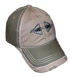 Distressed Lite Olive/ Olive Green Barbell Cap. Unique Distressed six panel baseball cap. Embroidered barbell. adjustable Velcro straps - extremely comfortable!. Awesome color contrast -. Great with Camo and army fatigues and BDU's.