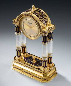 Art Deco Style Rock Crystal Palace Clock by Patek Philippe