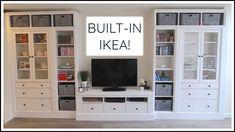 Living Room Ikea Hemnes Built Ins 68 Ideas For 2019 Diy Built In Shelves, Ikea Built In, Building Shelves, Built In Bookcase, Built In Cabinets, Built In Tv Wall Unit, Built In Tv Cabinet, Ladder Shelves, Bookshelf Wall