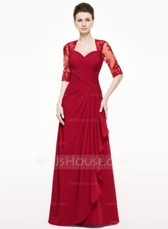 A-Line/Princess Sweetheart Floor-Length Chiffon Lace Mother of the Bride Dress With Cascading Ruffles (008062533) - JJsHouse
