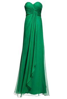 Brides.com: Wedding Color Scheme: Emerald and Gold. Emerald green strapless sweetheart floor-length bridesmaid dress, $250, Bari Jay