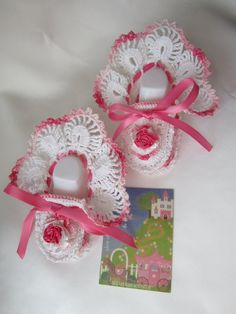 Crochet baby booties Pink flower crocheted baby girl by MILAVIKIDS, $23.99