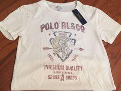 NWT POLO RALPH LAUREN Custom Fit Men's Indian Logo Antique Cream T-shirt Sz S #PoloRalphLauren #BasicTee