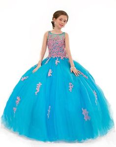 Floor Length Flower Girl Dresses Pink And Turquoise Tulle Ball Gowns Appliques Lace Girls Pageant Dress Vintage Kid Weddings Party Gown 2015 from Firstladybridals,$93.98 | DHgate.com