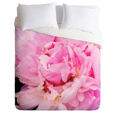 Pink Peony pretty floral full queen king duvet by happeemonkee