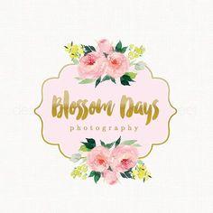 watercolor flower logo florist logo Peony by stylemesweetdesign