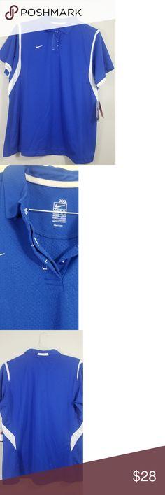 Women's Nike dri fit polo shirt sz xxl NWT NWT nike dri fit polo women's size xxl royal blue metal snaps Nike Tops Button Down Shirts