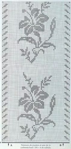 Hibiscus flowers cross stitch patternGráfico de Colcha  Renda -  /   Bedspread from Graphic Layout Lace -
