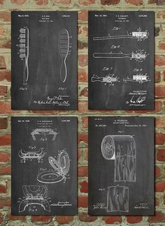 Bathroom Posters Group of 4 Bathroom Wall Decor by PatentPrints