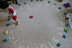 Alphabet Floor Games. Think about creative ways to use the circle time rug or even adapt this into a gym game (would need to create a large circle of letters on the gym floor)