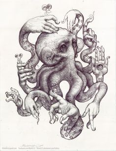 Local art: octopus drawing