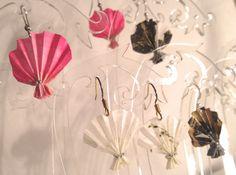 Miniature Origami Fan Drop Earrings