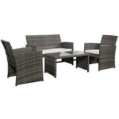 4-PC-Outdoor-Patio-Wicker-Furniture-Set-Cushioned-Sofa-Chairs-Porch-Yard-Deck #PatioFurnitureCushionchairs