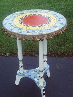 mesa de centro redonda superior acento pintado a mano