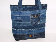 """Schultertaschen - Jeanstasche """"Converted """" Schultertasche Upcycle - ein Designerstück von AnTaschen bei DaWanda"""