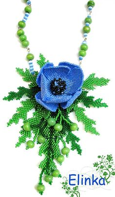 Beaded pendant anemone wind flower beaded door Elinawonderland