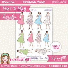 PP/195/CC/SL-V/1 - Print&Play - CUTE CUTS - Simply Lady - Vintage 1 - Karalea Collection