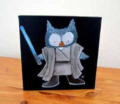 Jedi Owl Whimsical Kids Art Star Wars Parody Little by andralynn