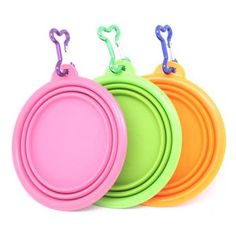 """Pet Supplies : """"Fold-N-Go"""" Silicone Collapsible Pet Food/Water Dish Dog Travel Bowl with Bone Clip : Amazon.com"""
