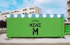 mini M grocery shop by Matali Crasset Praline Toulouse France 05 Architecture Design, Retail Architecture, Design Blog, Store Design, Cafe Display, Toulouse France, Mini, Concrete Building, Wayfinding Signage