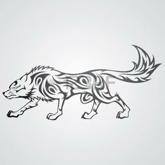 dessin tribal: Wolf Tattoo Illustration