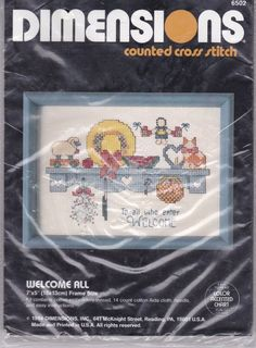 Dimensions Counted Cross Stitch Kit To All Who Enter Welcome 7 by 5 New 1986  #Dimensions #crossstitch #welcome