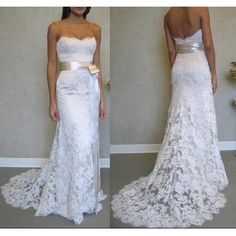 Strapless Sheath Bridal Gowns Wedding Dresses with Color Sash for Bride Style1590