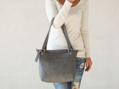 Leather messenger bag - Grey leather bag - Laptop bag for women - SQ bag